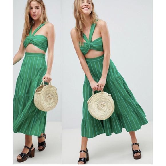 ASOS Dresses & Skirts - ASOS 💚Green💚 Midi Skirt 4 & Knot Bralette Set 2
